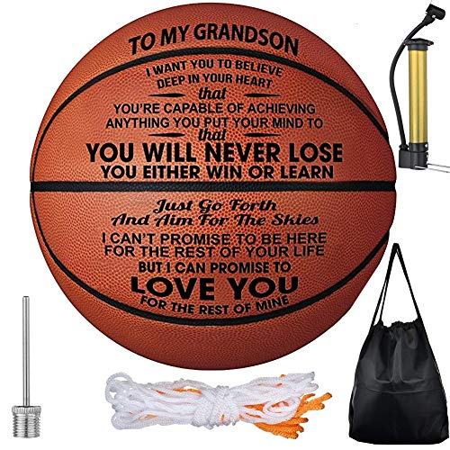Review Of Dafuz to My Grandson Engraved 29.5 Inch Basketball Gift with Encourage Message - You're ...