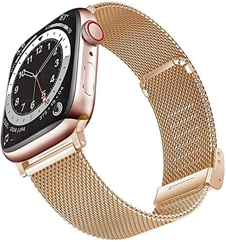 Yolistar Cinturino Compatibile per Apple Watch Cinturino 40mm 38mm Series 6 5 4 3 2 1 SE, Cinturino di Ricambio di Alta Qualità, Cinturino in Metallo Maglia Milanese a Acciaio Inossidabile,Oro rosa