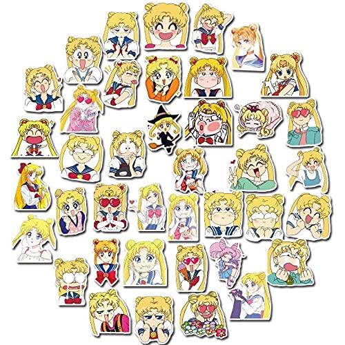 AXHZL Etiqueta engomada de la Maleta de Sailor Moon de Dibujos Animados Lindo Agua Hielo Luna Carro Caja de la computadora Etiqueta engomada del Regalo de los niños 40 Uds