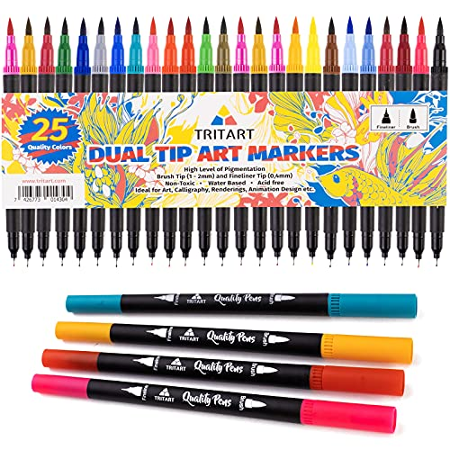 Dual Brush Pens Pinselstifte Set I 25 Filzstifte Dicke & Dünne Seite I Universal Doppel Fineliner mit Farben auf Wasserbasis I Dual Tip Marker für Bullet Journal Handlettering Kalligraphie Manga