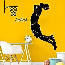 Wandora Muursticker Basketbalspeler + gewenste naam I donkergrijs (B x H) 55 x 100 cm I Kinderkamer Sticker Muursticker ze...