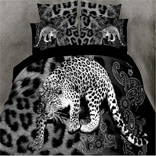 MFFACAI 3D-Effekte-Bettwäsche 4 Stück Set Tierwelt einschließen Bettbezug (200 * 230cm) Blätter Kissenbezug Lass Dich eintauchen 1,8/2 Meter Bett (5,9/6,6 ft), B