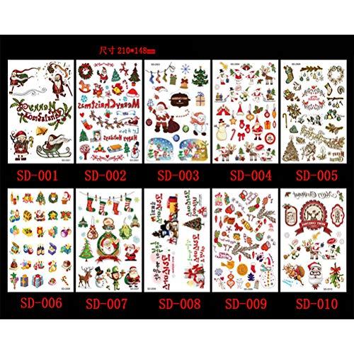Weihnachten Tattoo-Kinderaufkleber, Weihnachtsmann-Schneeflocke Cartoon Tattoo-Aufkleber Kiefer Fawn Schlitten Weihnachtsmütze Geschenk Temporary bunte funkelnde Muster 10 Blatt