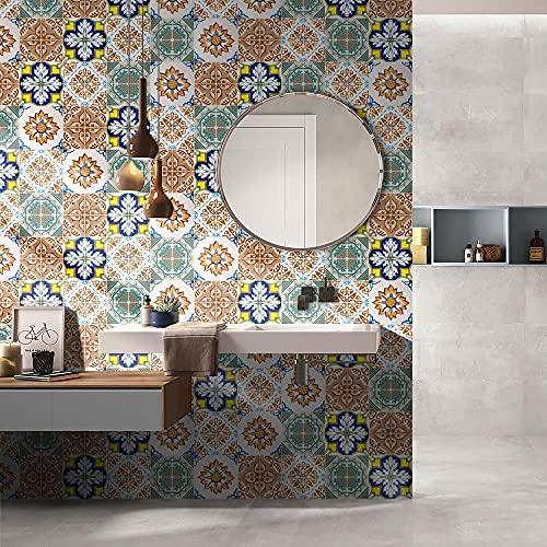 Swinno 25 pegatinas autoadhesivas para azulejos de suelo de combinación de azulejos duros y gruesos, impermeables, decoración creativa de PVC pelable (20 x 20 cm)