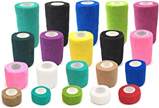 20 Pack Self Adherent Cohesive Wrap Bandages 5 Yards Elastic Medical Vet Tape Rolls for First Aid Sports Wrist Ankle Finger Sprain Swelling and Soreness Pet Dog Cat FDA Approved (20)