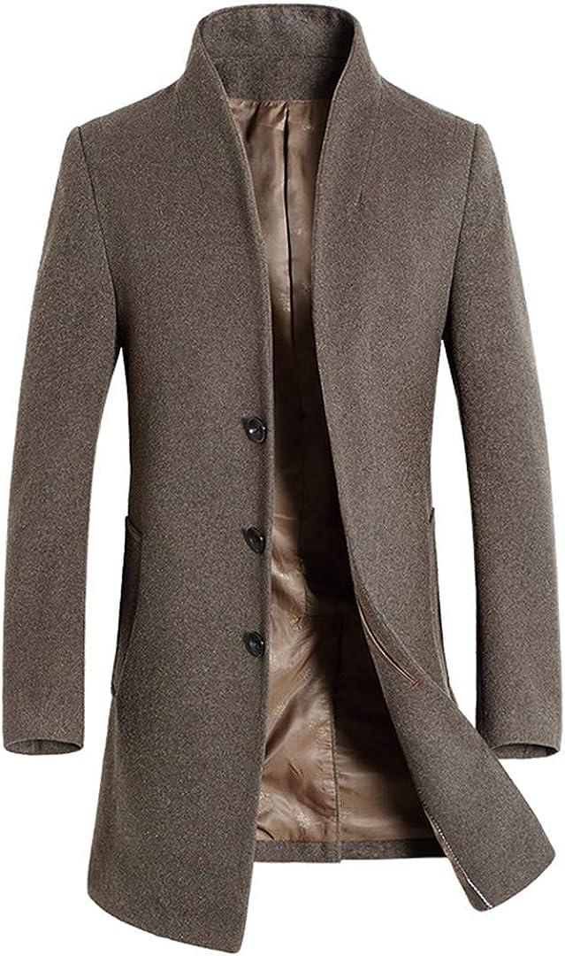 Zichhing Wool Blend Coats Men Winter Slim Solid Long Section Wool Coat Business Trend Wool Overcoat