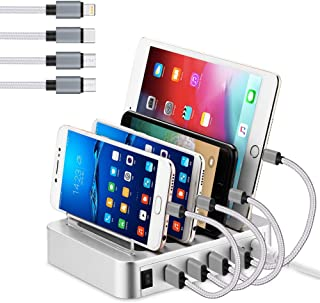 Weixu Fastest USB Smart Charging Station with Quick Charge QC 3.0-6-Port-Multi Device Charger Organizer Desktop Charger,Charging Stand Organizer for Smart Phone,Tablet and Other USB(White, 4-ports)