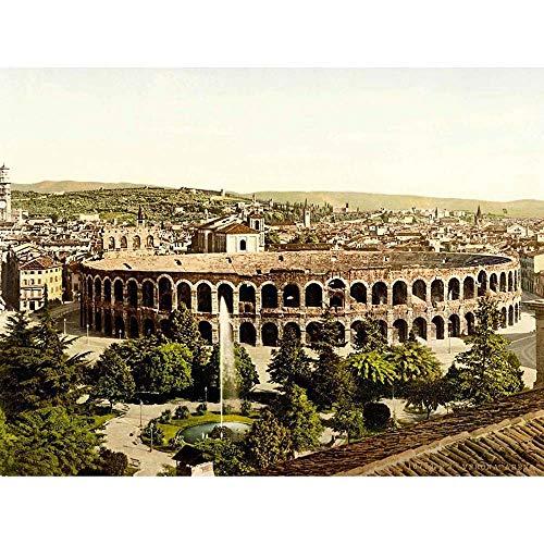 VINTAGE PHOTOGRAPHY VERONA ARENA STADIUM ROMAN RUINS ITALY 30x40 cms ART POSTER PRINT PICTURE CC7035