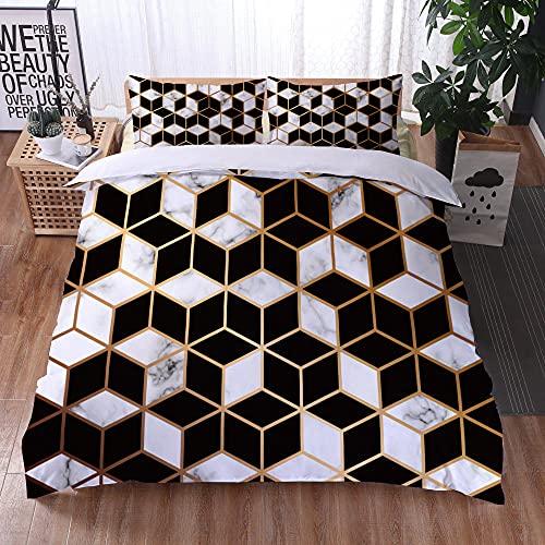 Bedclothes-Blanket Funda nórdica 3D 220x240,Ropa de Cama Juego de Tres Piezas de Almohadas 3D Impresión Digital de mármol Colorido-9_200x200cm