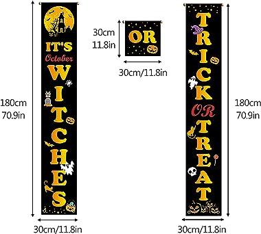 BTPOUY Halloween Banner Decorations, Trick or Treat Hanging Banner Outdoor Garden Hanging Decoration for Porch Front Door, Ou