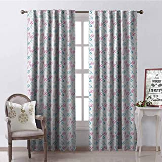 GloriaJohnson Baby Blackout Curtain Milk Bottles Pacifiers Rattles Pattern Hand Drawn Baby Toys Themed Ornate Image 2 Panel Sets W42 x L63 Inch Pink Blue White