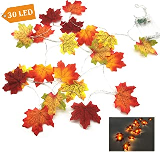 Fall Decorations, Autumn Garland Lighted Fall Decor Wreath, 30 LED Maple Leaves Fairy String Lights for Thanksgiving, Christmas, Wedding, Baby Shower, Party, Home Decoration (9.8ft, Warm White Glow)