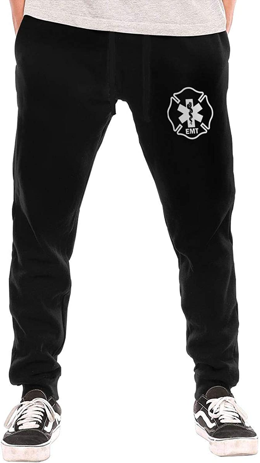 HUDIDEAR EMT Shield First Responder Military Mens Fit Joggers Jersey Sweatpants for Gym Training