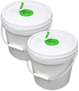Texas Ragtime 2 Empty Plastic Buckets Wet Wipe Roll Dispenser with Pop Up Top Reusable Economical for Home and Commercial ...