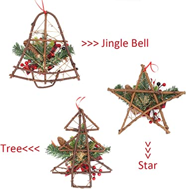ASTER 3 Pieces Christmas Grapevine Wreath Hanger, Natural Pine Cone with Red Berries Jingle Bell Bow Ornaments Xmas Garland f