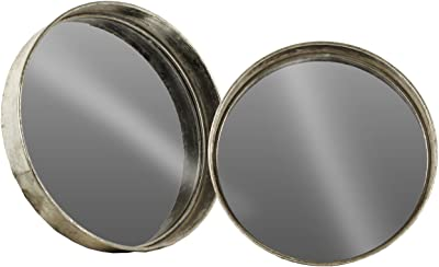 Urban Trends Metal Round Wall Mirror Set of Two Tarnished Finish Antique Foil Silver