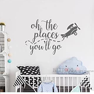 BATTOO Oh the places you'll go Airplane Wall Decals Playroom Wall Decal Kids Wall Art Nursery Wall Decal Airplane Wall Art...