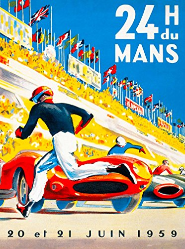 A SLICE IN TIME 1959-24 Hours Le Mans France Automobile Race Car Travel Advertisement Vintage Poster Art Print. Measures 10 x 13.5 inches