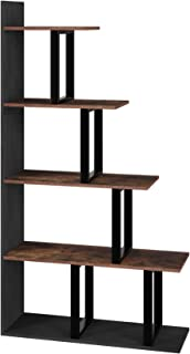 Homfa Wooden 5-Tier Bookshelf, Industrial Vintage Freestanding Bookcase 63Hx12Wx33.5L inches, Multipurpose Storage Display Rack, Wood Look Accent Metal Organizer Frame for Living Room Home Office