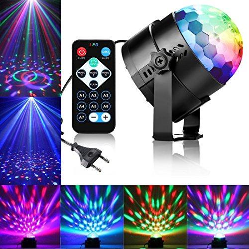 Qibaok Lámpara Luces De Etapa, Mini bola mágica lámpara etapa, DJ Luces discoteca LED Lámpara de Luz de Escenario Sonido activado por voz Lámpara, KTV bar Fiesta [Clase de eficiencia energética A]