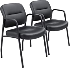 Devoko Office Reception Chairs Executive Leather Guest Chairs with Armrest Ergonomic Upholstered Lumber Support Side Chair...