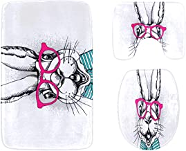 Lovely Rabbit with Girls and Boys Bathroom Rug Mats Set 3-Piece,Soft Shower Bath Rugs,Contour Mat and Toilet Seat Lid Cove...