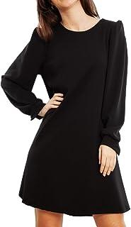 Toocool - Vestito Donna Miniabito Maniche Sbuffo Lunghe Elegante Bottoni JL-3817