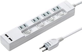 サンワサプライ USB充電ポート付き便利タップ 4個口・2P・USBポート×2(合計2.4A)・2m TAP-B102U-2W