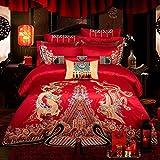 HIUGHJ steppen10 Stücke Rot 100prozent Baumwolle Hochzeit Bettwäsche Set Golden Dragon Phoenix Stickerei Bettbezug Tagesdecke Blatt Set Kissenbezüge-König 7 stücke