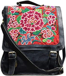 Handmade Boho Chic Spacious Leather Backpack One of A Kind Women Antique Embroidery Rucksack #102