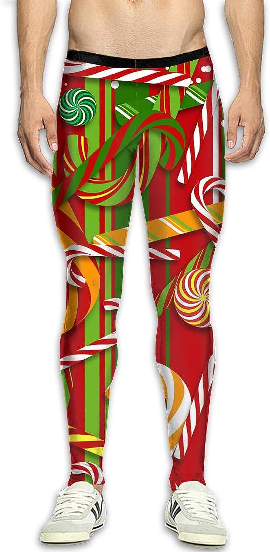 70bb8a0b3220a Mens Compression Pants Christmas Christmas Christmas Candy Tight Leggings  Elastic Waist Baselayer Yoga Sports Trousers 71297e