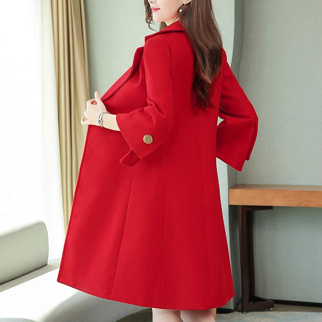 Yowablo Damen Herbst Winter Jacke Lässige Outwear Parka Cardigan Schlank Solid Mantel Frauen Elegant mit Knopf Rot