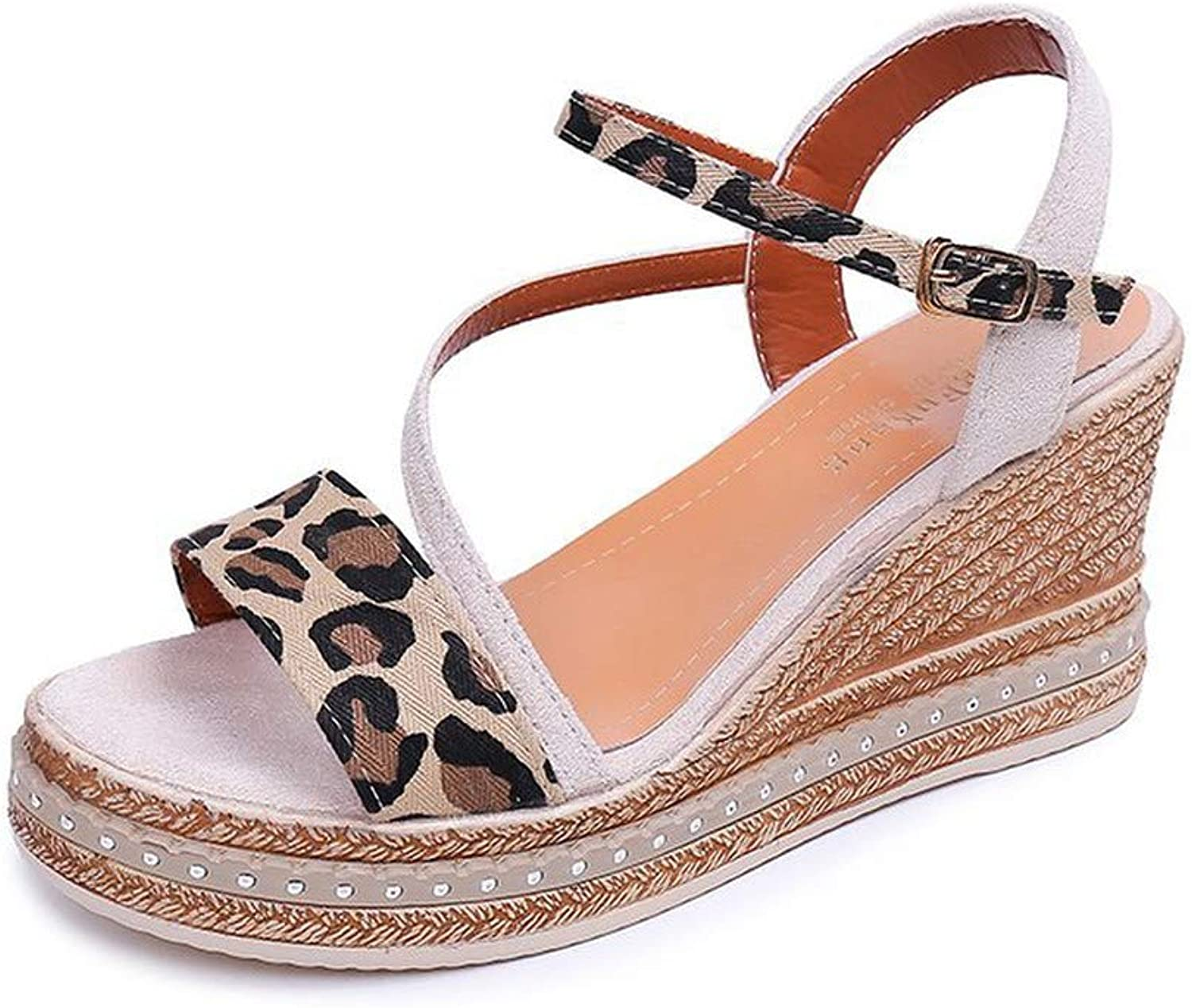 WTKRSM Summer Wedge with Platform Sandals Women's Buckle with Open Toe shoes Workplace Sandals
