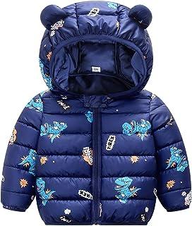 Bebé Invierno Chaqueta Niños Oreja Capucha Abrigo Acolchado CáLido Ligero Niñas Trajes Azul 3-4 Años