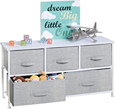 mDesign Extra Wide Dresser Storage Tower - Sturdy Steel Frame, Wood Top, Easy Pull Fabric Bins - Organizer Unit for Child/...