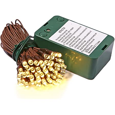 Vickerman 35-Light Battery Operated Wide Angle LED Warm White Brown Wire Timer Set, 5-Inch with Spacing