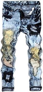 Men's Vintage Denim Folds Wash Work Frayed Jeans