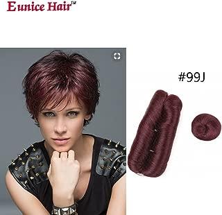 Eunice short hair 28 Piece #99J Human Hair Weaves with Top Closure Brazilian Virgin Hair Weave Wavy Curly Short 27Pcs Hair with Closure Free Wig (#99j)