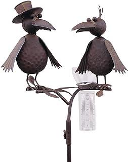 Pluviometro a forma di corvo. Materiale: acciaio patinato.