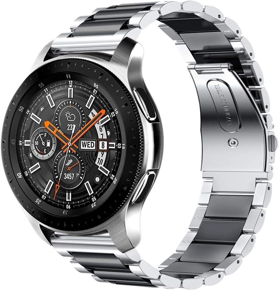 iBazal 22mm Correa Metal Acero Pulseras Bandas Compatible con Samsung Galaxy Watch 3 45mm/Galaxy Watch 46mm,Gear S3 Frontier Classic,Huawei GT/2 Classic,Ticwatch Pro (Reloj No Incluido) - Plata/Negro