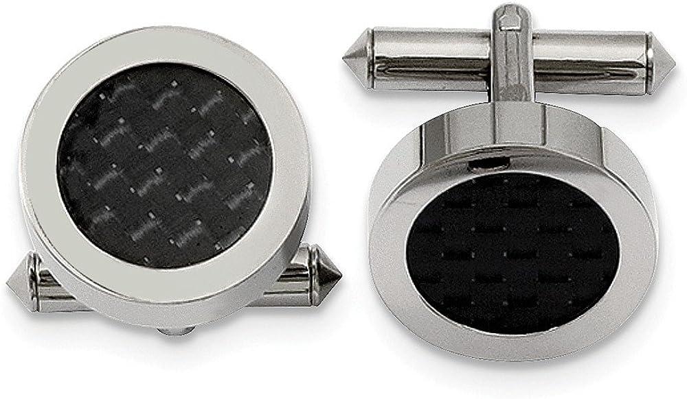 Sonia Jewels Titanium Polished with Black Carbon Fiber Inlay Cuff Links (18mm x 18mm)