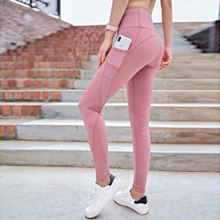 Yoga Pants Women High Waist Lift Hips Tight Running Sports Breathable Fitness Pants,Pink(M)