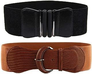 VOCHIC 2pcs Wide Elastic Plus Size Women Waist Belts for Ladies Dresses Thick Stretch Waistband