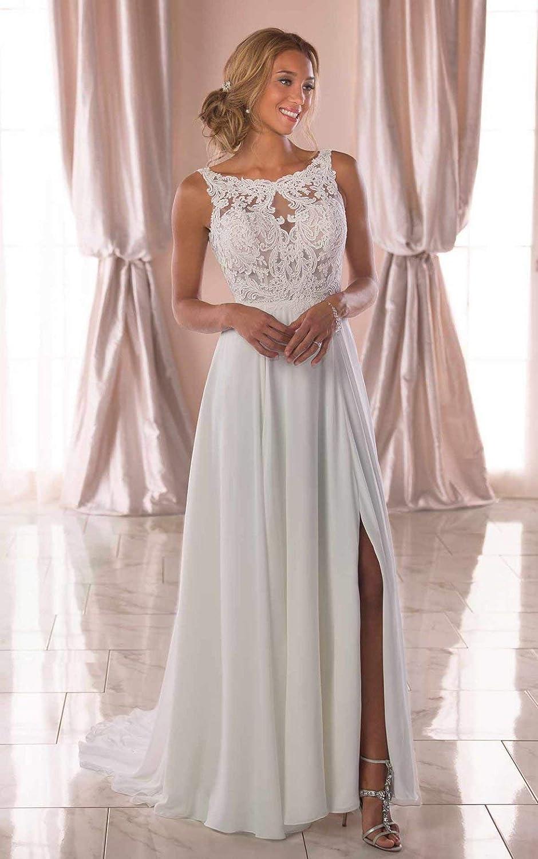 Women's A-line Chiffon Lace Wedding Dress with Slit Illusion Beach Bridal Gown