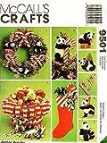 OOP McCall's Pattern 9501. Panda Bear Christmas Tree Topper & 4 Panda Tree Ornaments; Christmas Stocking; Candy Cane Tree Ornaments; & Candy Cane Basket
