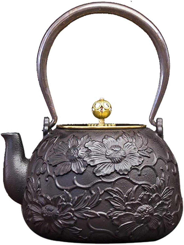 Kays Théière Théière en fonte, bouilloire à thé Tetsubin de style japonais, 1,3 L    Bouilloire en fonte pour garder le thé au chaud    Dorure à la fleur de pivoine Pcourire Bouilloire haut de gamme en fonte