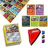 Totem World 100 Cards with 5 Rare Cards and Totem Deck Box Compatible with Pokemon Cards
