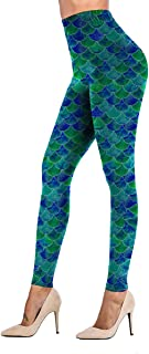 Womens Printed Leggings Unique Patterned Brushed Stretchy Pants Workout Yoga Fitness
