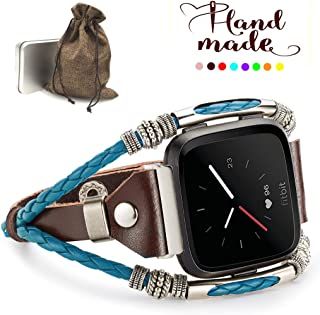 Marval.P Compatible with Fitbit Versa Lite Bands, Handmade Leather Band, Replacement Unique Bracelet Strap, Wristbands Adjustable, Fashion Wrist Band Straps for Women Men Lover