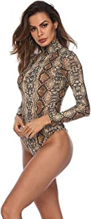 ASUNG Basic Solid Bodysuit for Women Turtleneck Leotard Top Long Sleeve Bodycon Jumpsuit Stretchy Romper